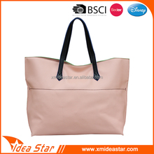 Hot selling classic fashion custom school leather pink hand bags woman