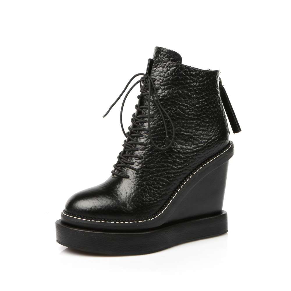 lace up latest ladies ankle leather wedge boots