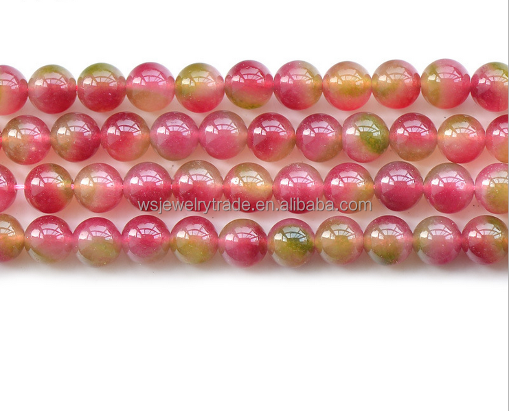 Watermelon chalcedony beads Chalcedony semi-finished products wholesale Factory direct sales