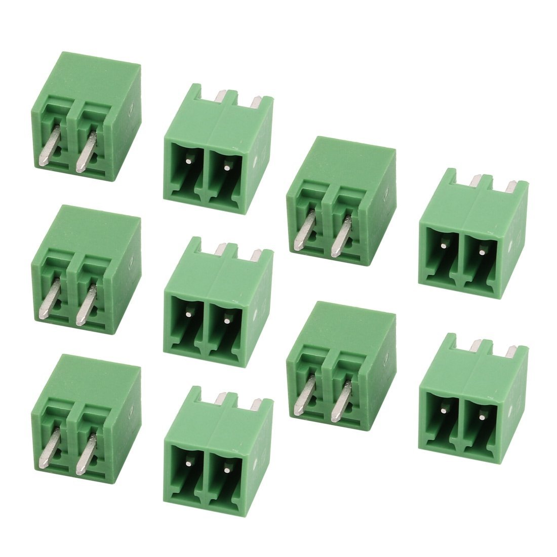 uxcell 10Pcs AC 300V 8A 3.5mm Pitch 2P Terminal Block Wire Connection for PCB Mounting Green