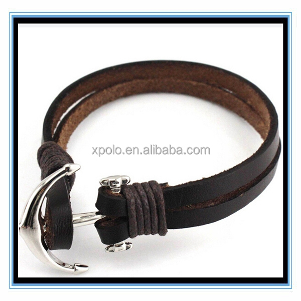 Fashion Nautical Anchor Black Leather Bracelet Jewelry