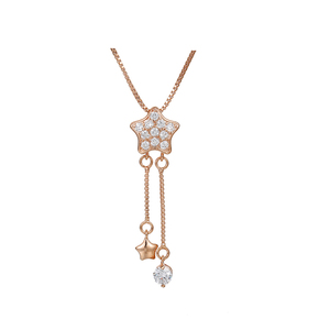 W-40004 xuping fashion new design rose gold plated star shape pendant necklace for women