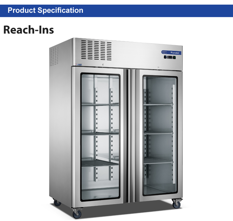 Heavy Duty Double Glass Doors Vertical Refrigerator and Freezer High-end Series FRCF-6-1