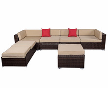 2017 Outdoor Leisure Garden Sofa Wicker Furniture 6 Pieces Wicker Patio Furniture Conversation Set