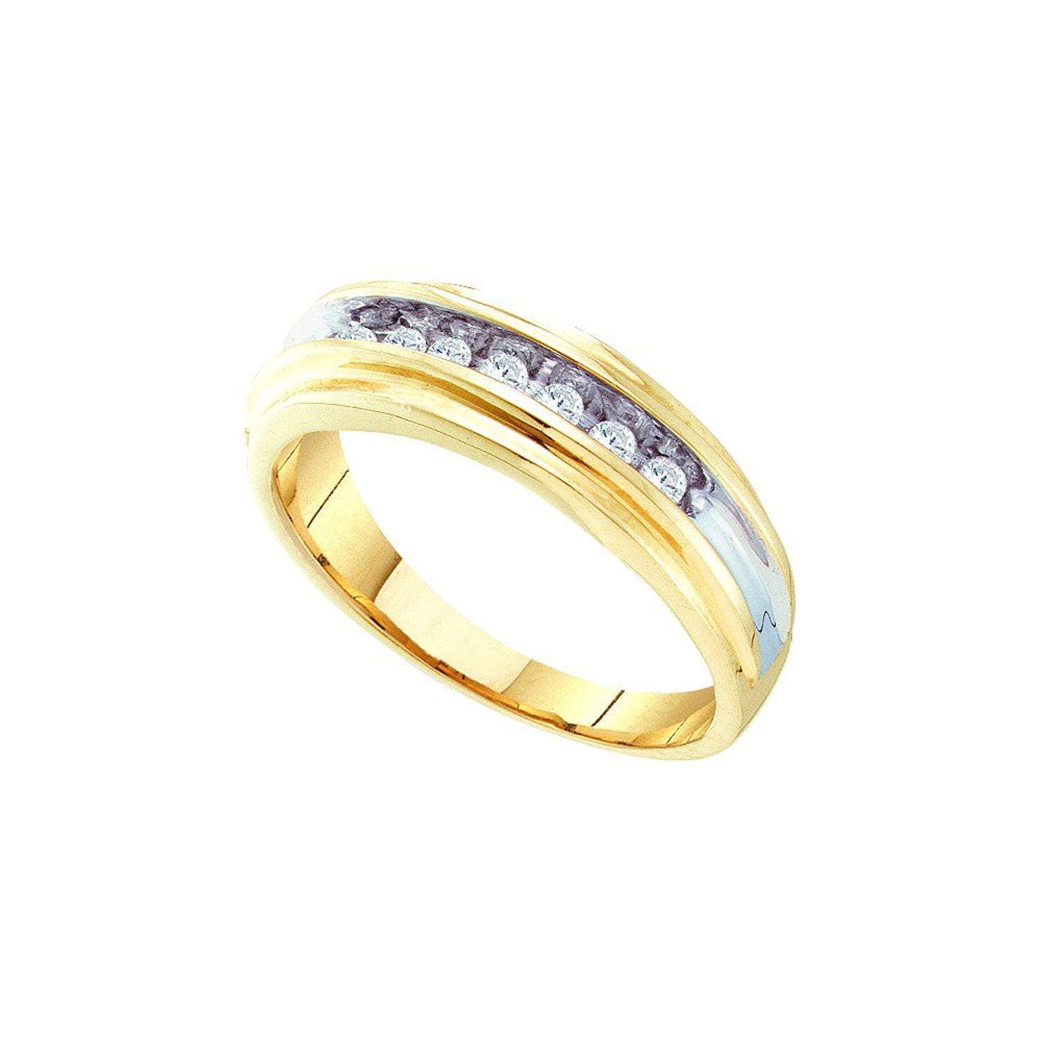 10k Yellow Gold Ring Mens Five Stone Small Diamond Wedding Band Round Channel Set Polished 1//20 ctw