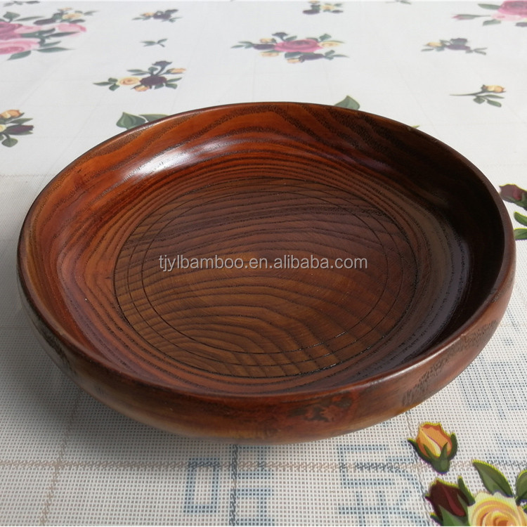 17*4.5CM retail sell cheap round <strong>natural</strong> wood tray in stock