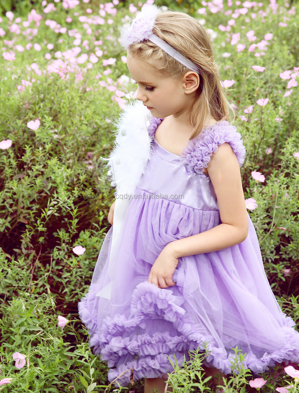 Luxury Lilac Feather Princess Flower Girls Dresses For Beach Wedding Party Kids Gown Barbie