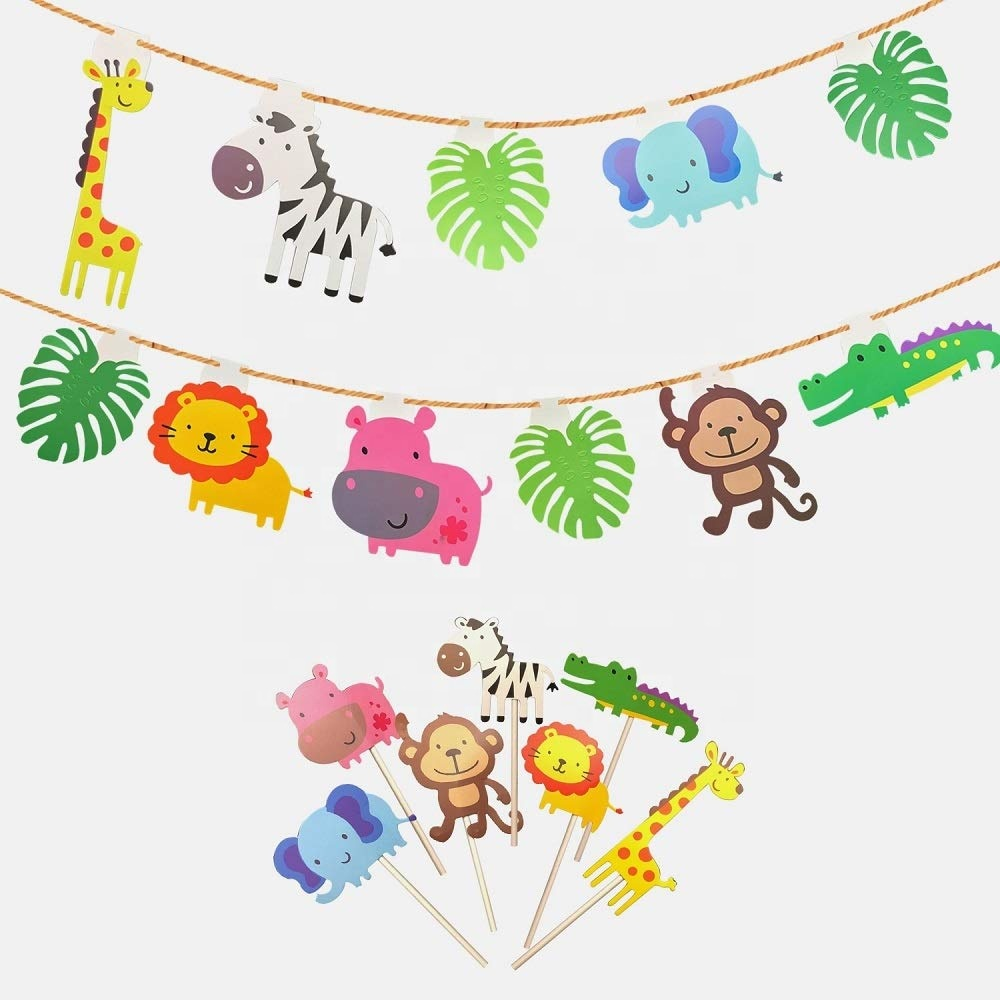 UMISS Cute Zoo Jungle Animals Cupcake Toppers Kids Baby Shower Birthday Party Cake Decoration Supplies