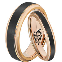 Rose Gold & Black Tungsten Couple Lovers Ring Set Comfort Fit Wedding Band 6mm for Boy 4mm for Girl