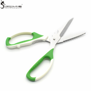 SOWOLL Brand New Design Multi-function Stainless Steel Kitchen Scissors Non Slip Plastic Handle Scissor Detachable Cooking Tools