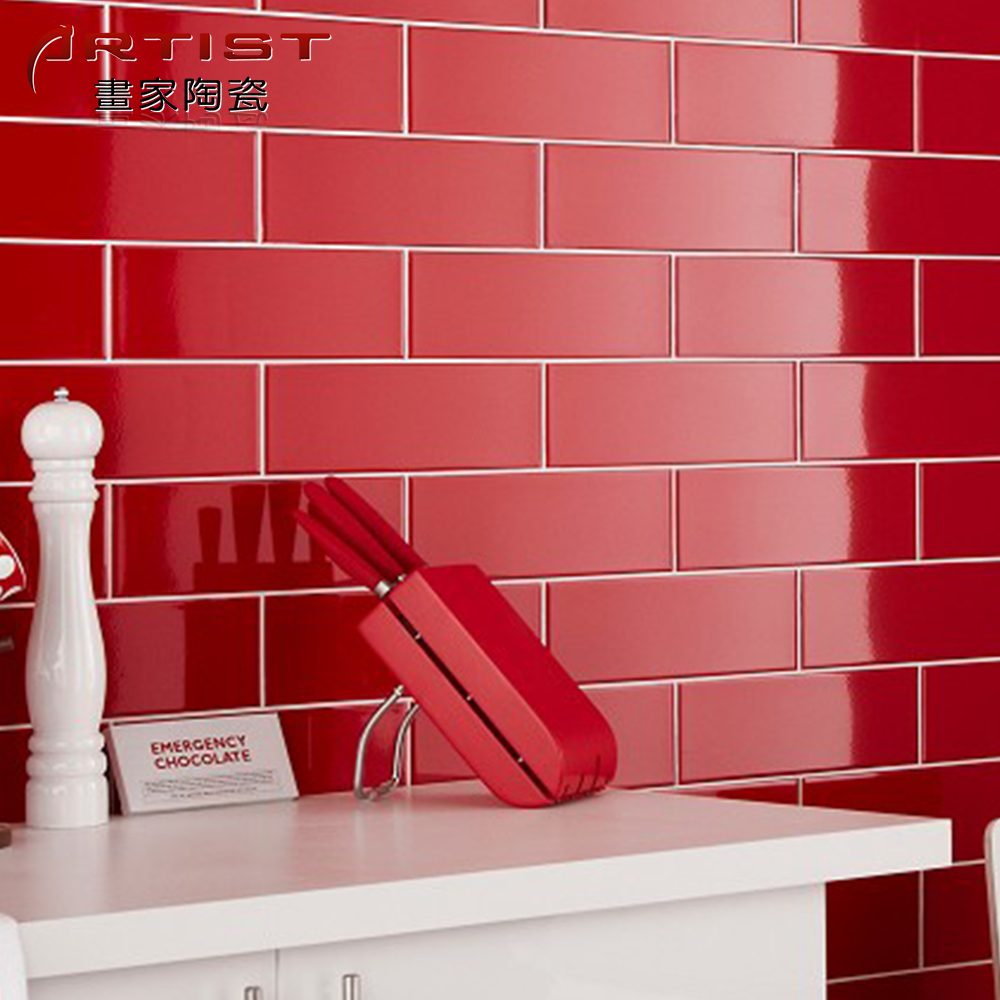 Ceramic Kitchen Wall Tile 100x300 Red