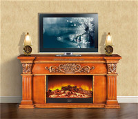 Antique Style Huge Frame Surround TV Stand Fireplace Mantel, Living Room Stove Heater with Remote Control
