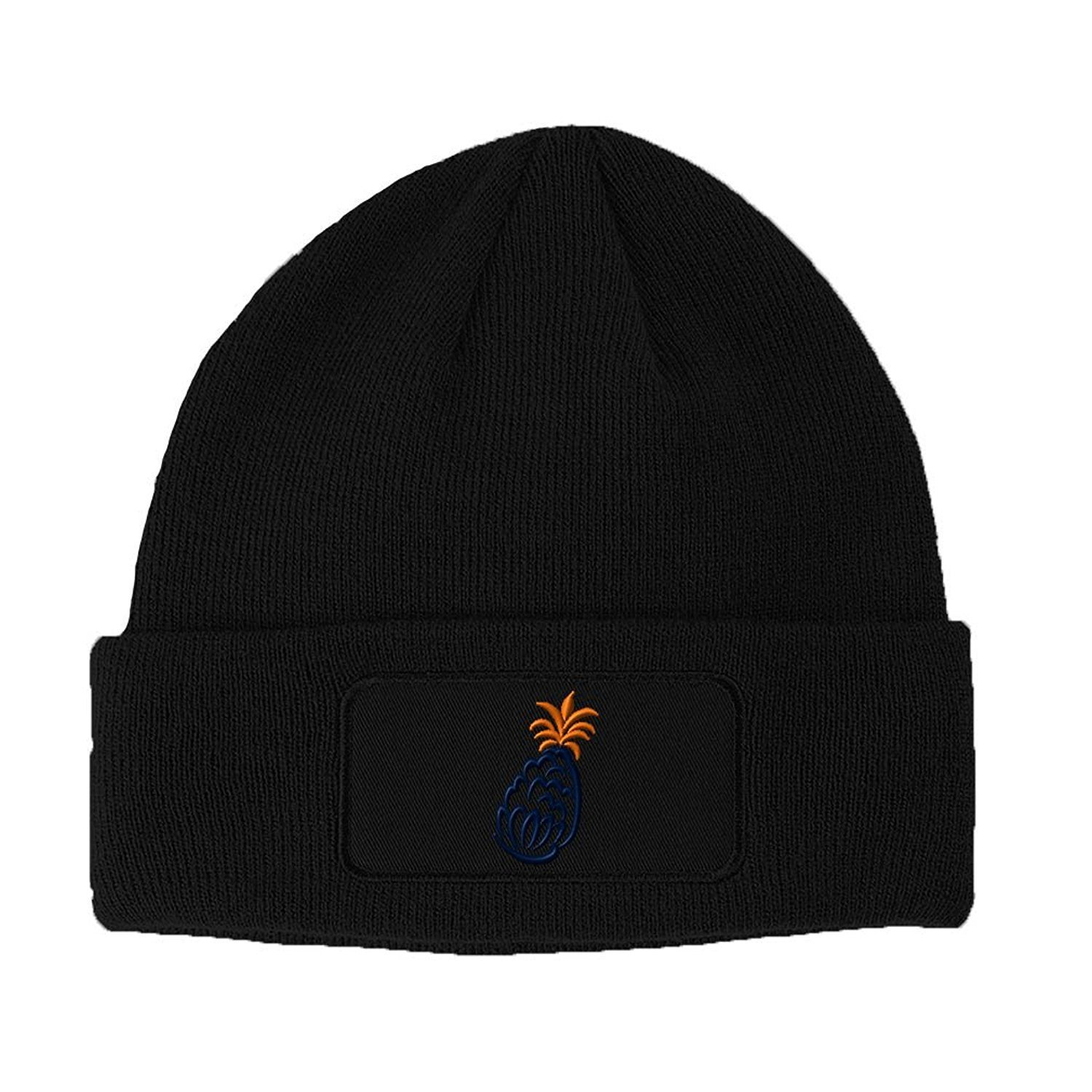 Brilliant Food Fruit Navy Pineapple Embroidery Double Layer Acrylic Patch Beanie