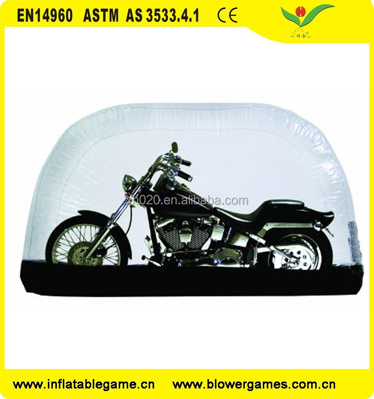 Custom design indoor capsult tent transparent PVC inflatable motorcycle cover