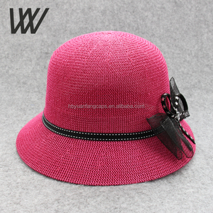 2017 Cheaper Wholesale Summer Breathable Handiness Ladies Woven Straw Bowknot Big Brim Sun Hat