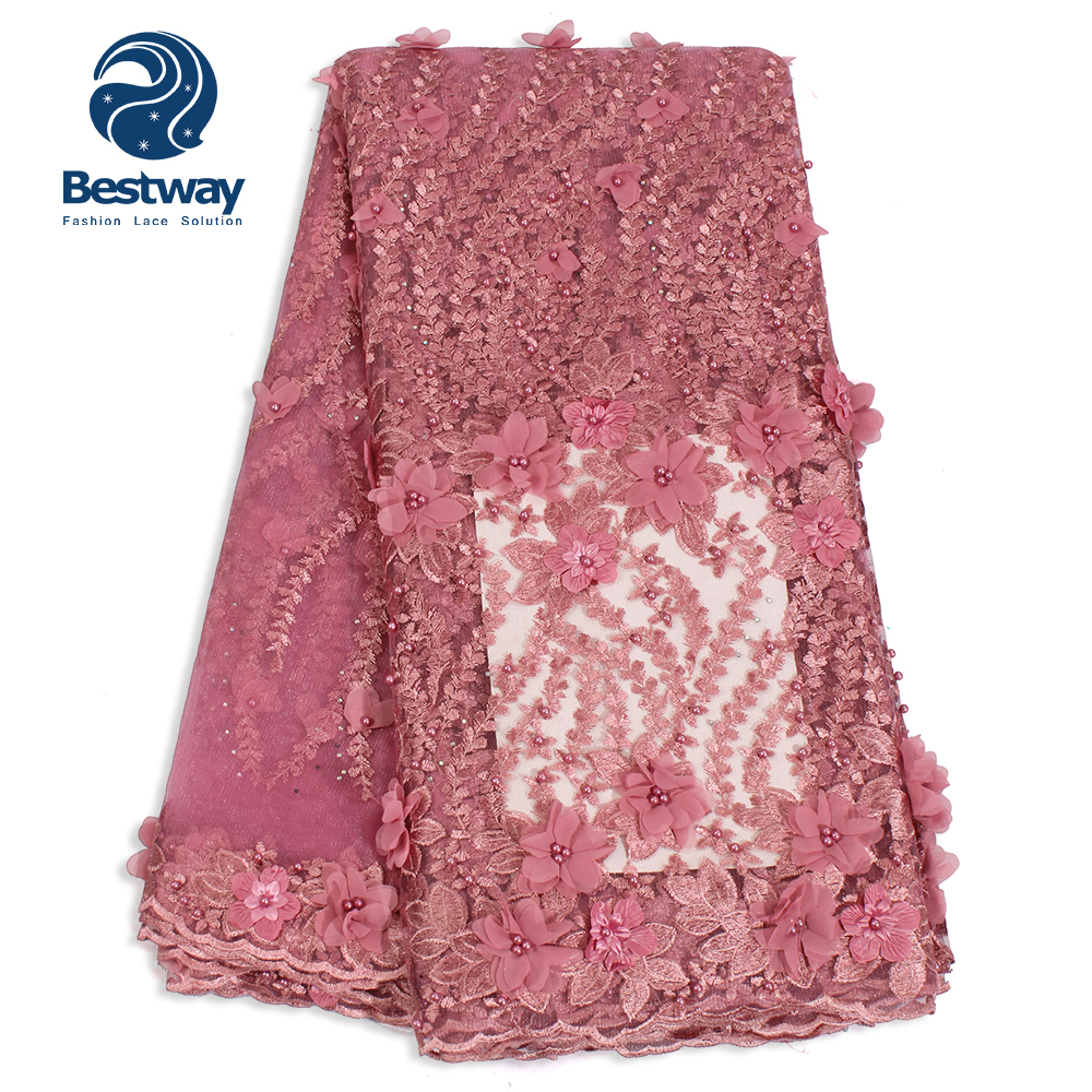 Home & Garden Best Selling Good Quality African Swiss Voile Lace In Pink With White Jl Quality And Quantity Assured
