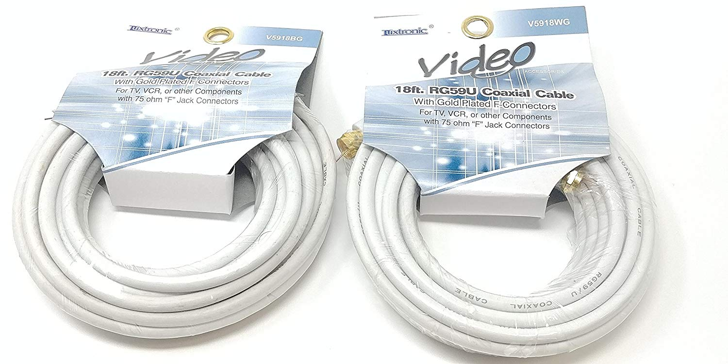 36' (2 Pack x 18 feet) RG59U Coaxial Cable | Includes Gold Plated F-Connectors | Includes 75 ohm F Jack Connectors (2 Pack x 18 Feet)