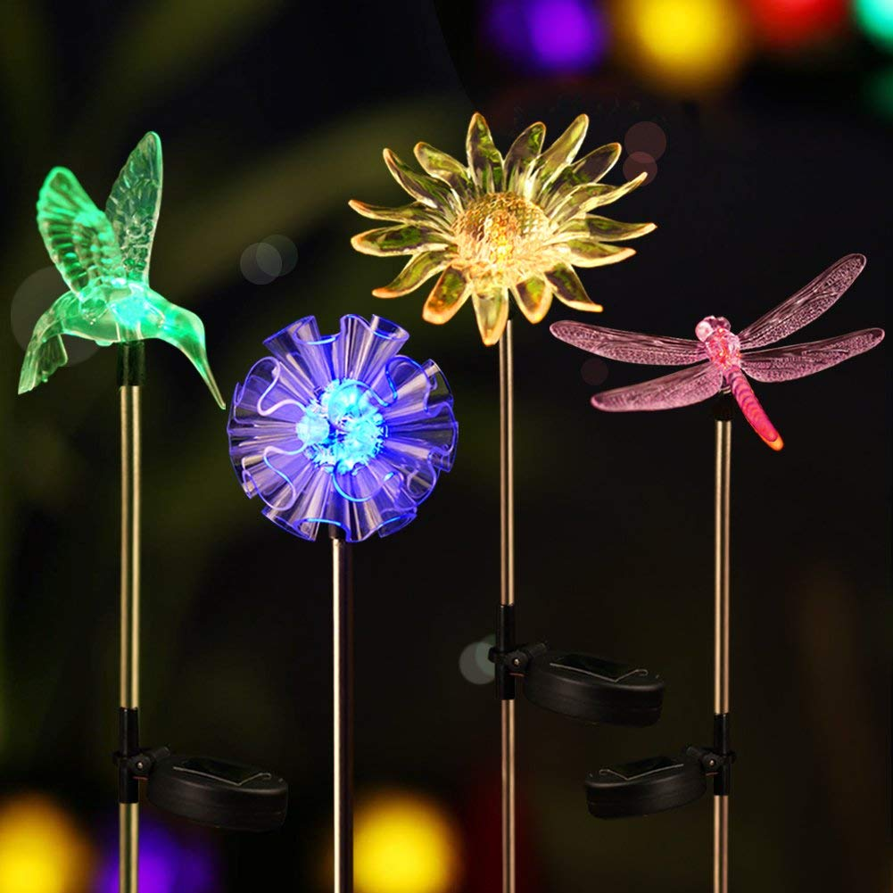 Get Quotations · Bright ZEAL [Set Of 4] LED Color Changing Solar Stake  Lights Outdoor   Solar