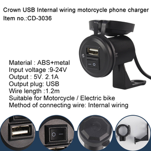 Netpor Quick Charge 5V-2.1A Mobile Phone Charger Crown USB Motorcycle&Electric bike charger Smart Fast Charging for Phone