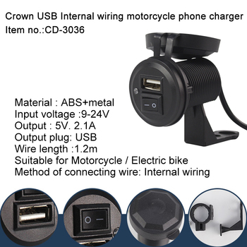 Netpor Quick Charge 5V 21A Mobile Phone Charger Crown USB MotorcycleElectric Bike Smart