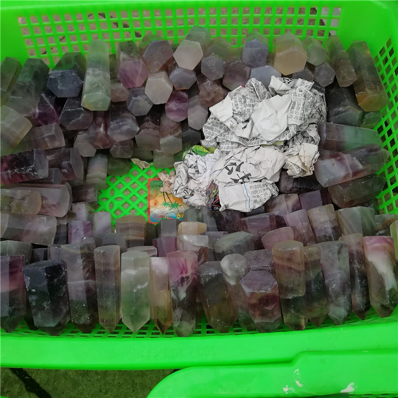 Wholesale Natural Rainbow Carved six Sides Fluorite Point, Terminated Quartz Crystal Points