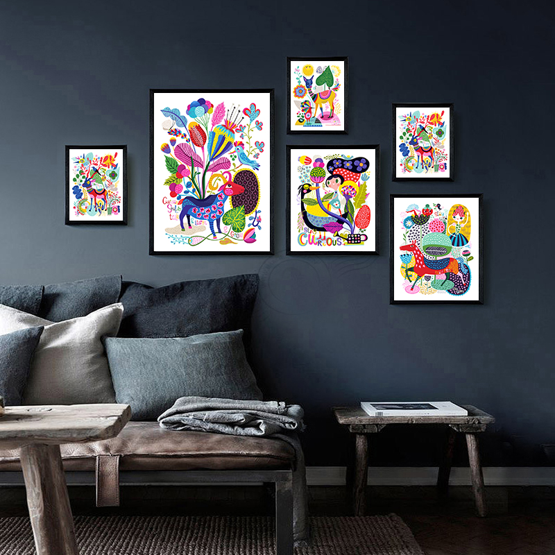Canvas Painting Modern Cartoon Animals Colorful World Art Wall Print Picture Poster Children Bedroom Decor No Frame Art Painting