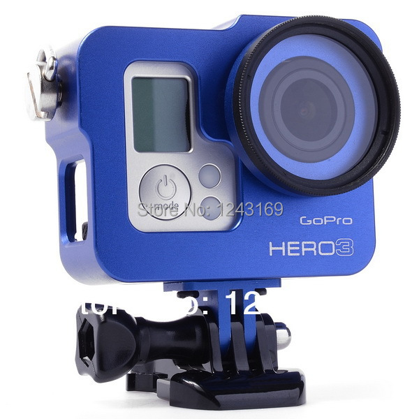 Blue Aluminium Rig Housing Case Frame With 37mm UV Filter For GoPro Hero 3 3+