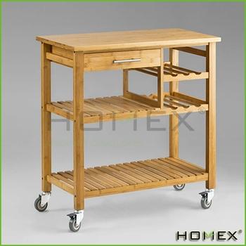 Wooden Bamboo Kitchen Cart/ Kitchen Vegetable Trolley Homex BSCI