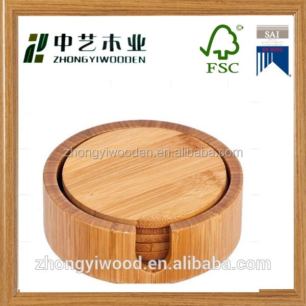 China factory sale FSC&BSCI bamboo piece wooden coffee cup coaster pallets set for christmas decoration