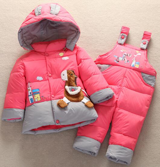 Младенцы животное лошадь вниз куртка комбинезон костюм дети малыша вниз пальто + брюки комплект мальчики девочки дети зима одежда