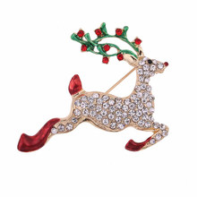 Charm Christmas gifts for girlfriend enamel alloy rhinestone pave deer brooch wholesale