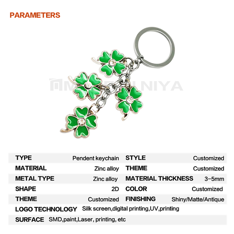 Promotion Crystal Lucky Clover Pendant Connector Christmas Keychain With Logo