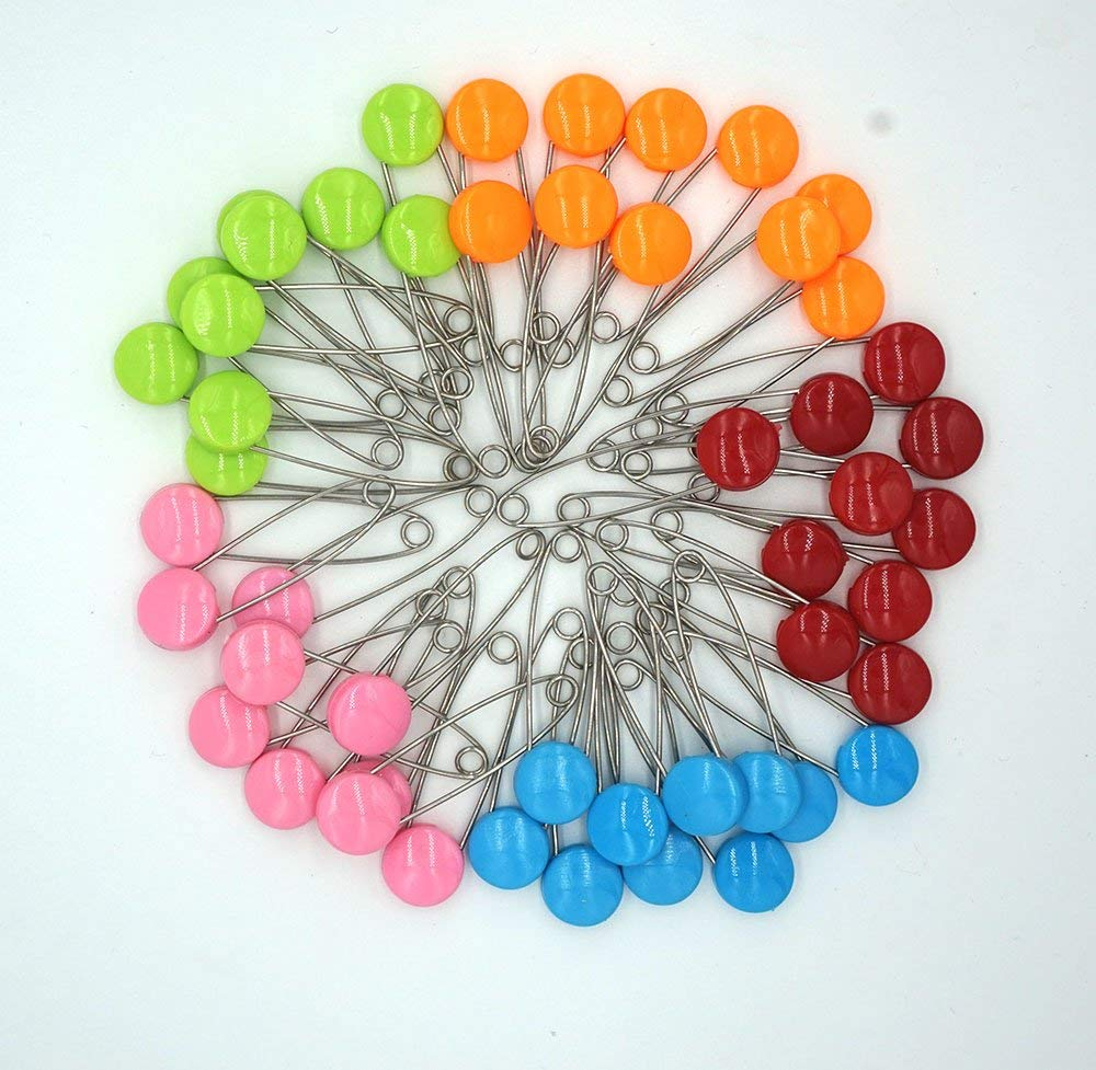 GTONEE Safety Pins Locking Baby Cloth Diaper Nappy Pins Stainless steel, Size L, 2.1 inch Cute Candy Color 50 PCS