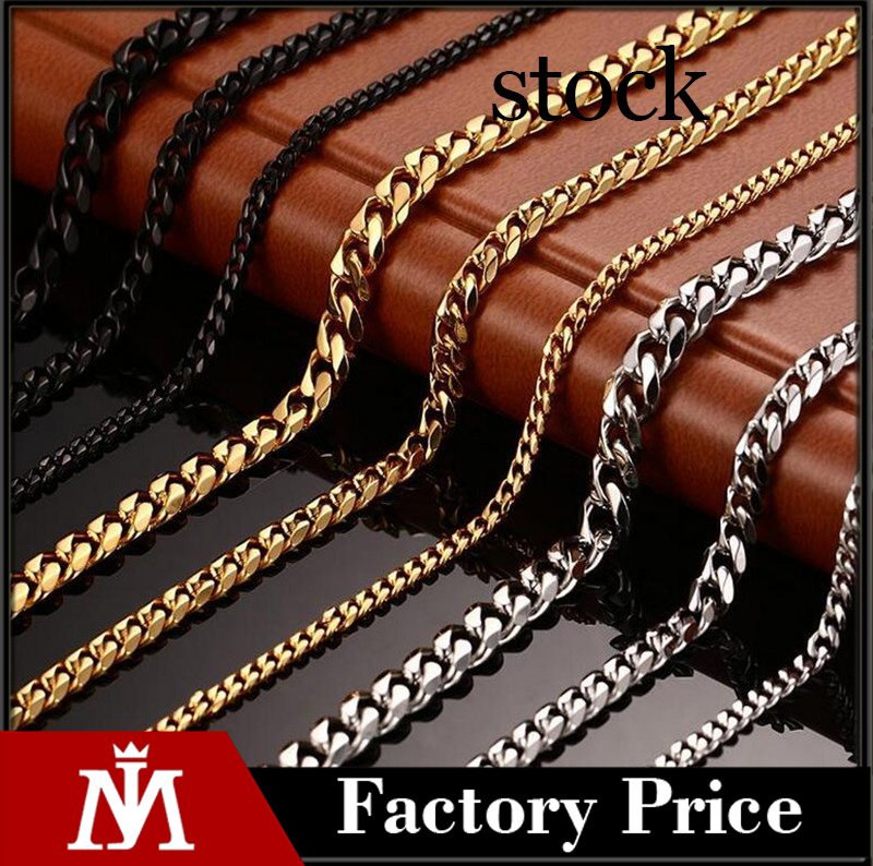Wholesale mens 18k gold jewlery 316L stainless steel figaro curb chain necklace