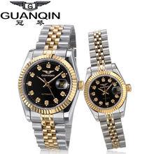 Автоматические механические часы GUANQIN для пар, мужские часы, набор, роскошные деловые часы для женщин, водонепроницаемые часы(Китай)