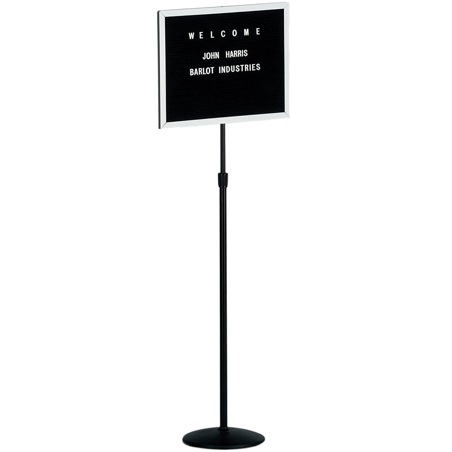 "TableTop King SMD1418 36"" - 66"" Black Adjustable Aluminum Single Pedestal Stand with 14"" x 18"" Black Felt Board and 3/4"" Letters"