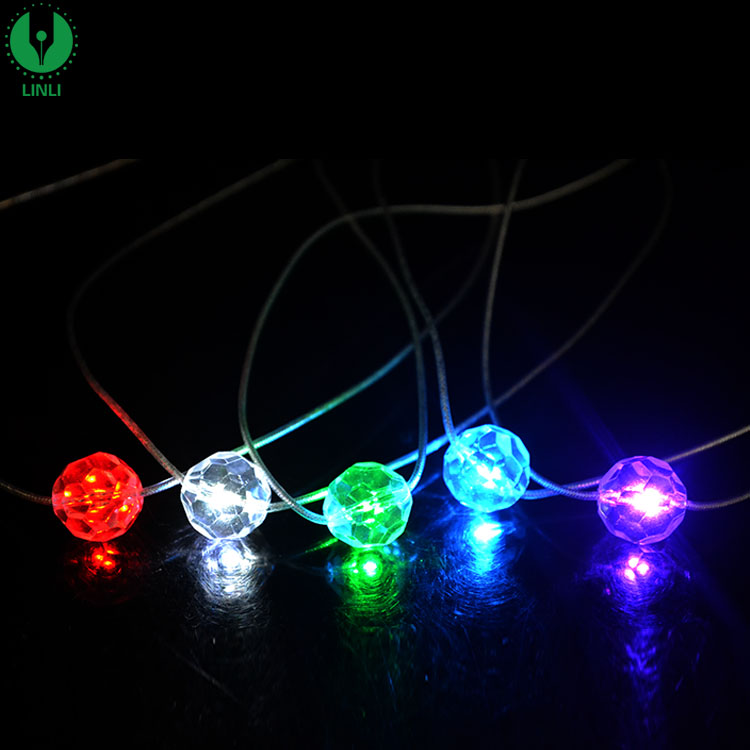 Mini Sphere Multicolor Crystal LED Necklace, Flashing Jewelry, LED Souvenir Gifts