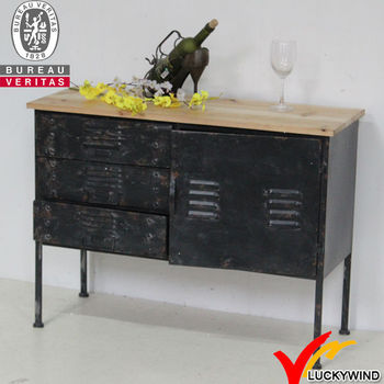 Wooden Top Metal Industrial Hand Painted Black Sideboard Buy
