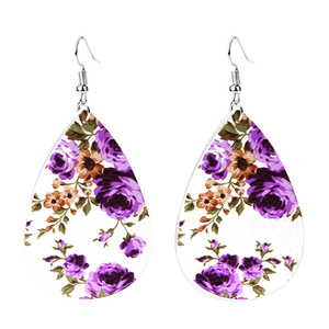 Wholesale Genuine Leather earrings floral print Drop earring women