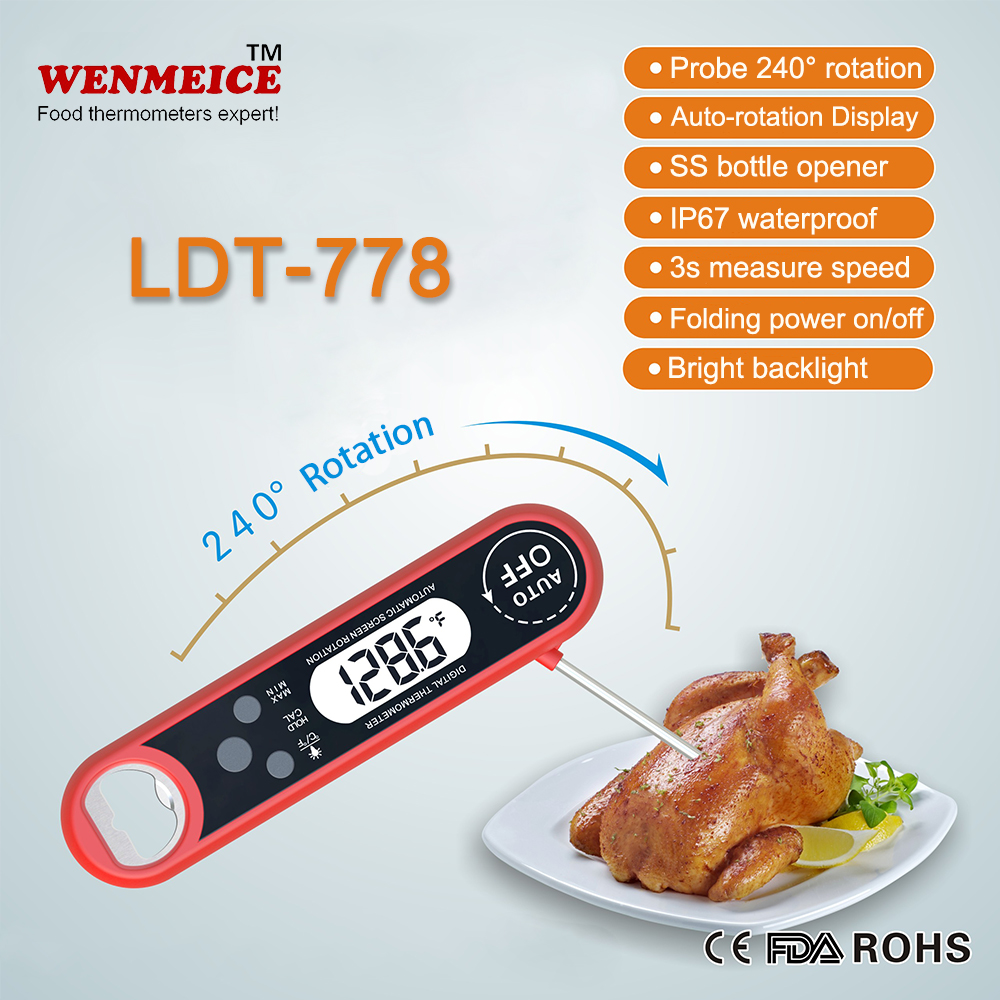 3s ultra fast waterproof auto-rotation display meat thermometer temperature probes with bottle opener