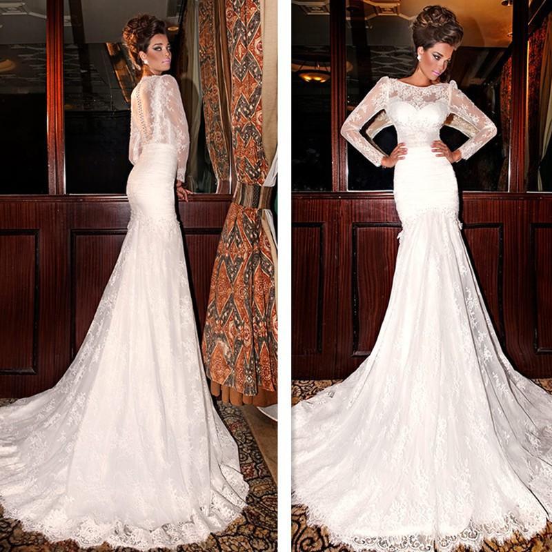2015 New Elegant Full Long Sleeves Mermaid Wedding Dresses: Elegant Sheer Long Sleeve Lace Wedding Dresses 2015
