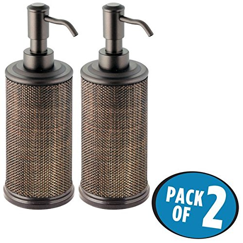 mDesign Liquid Hand Soap Dispenser Pump Bottle for Kitchen, Bathroom | Also Can be Used for Hand Lotion & Essential Oils - Pack of 2, Bronze