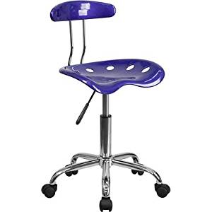 Parkside Vibrant Deep Blue and Chrome Task Chair with Tractor Seat