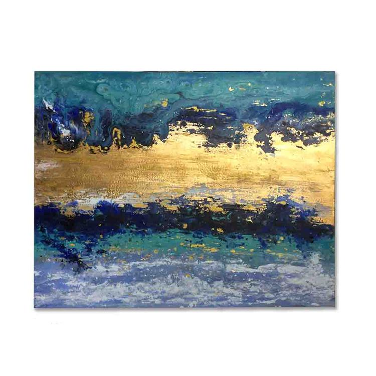 Màu Xanh Vàng Thất Bại Trừu Tượng Tranh Sơn Dầu Hand Painted Lớn Tranh Sơn Dầu Trên Vải