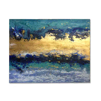 Canvas Abstract Hand Make Goldfoil Sunrise Oil Painting with Stretched