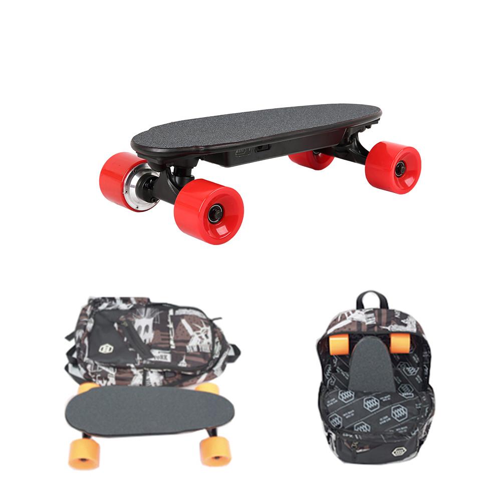 NEW Portable Wireless Remote Control Mini Four Wheels Electric Skateboard Dual Hub Motor Backpack Skateboard