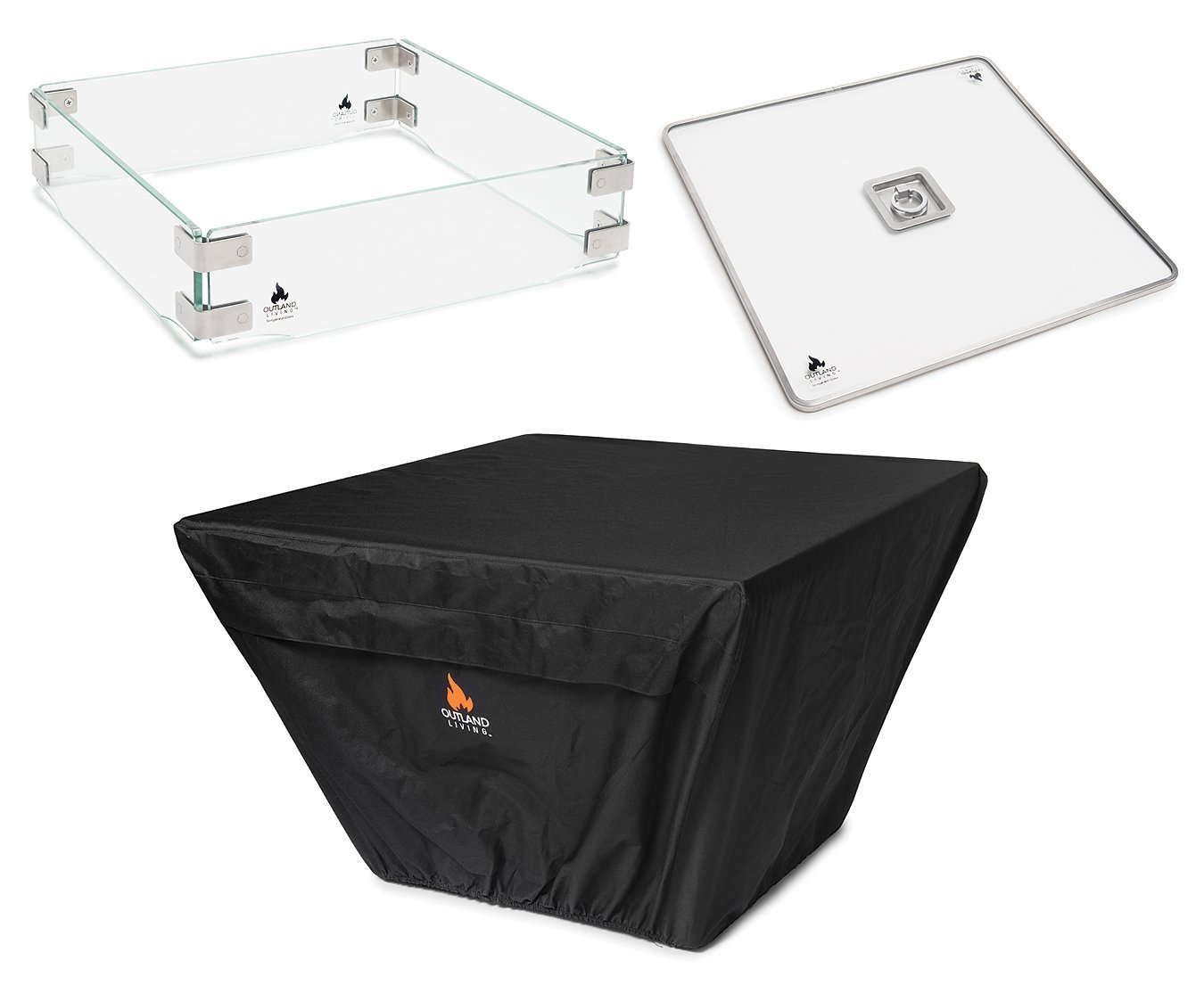 Outland Fire Table 3 Piece Square Accessory Set of Tempered Glass Lid Insert, Tempered Glass Wind Guard Fence, and UV & Water Resistant Durable Cover for 36-Inch Square Outland Series 410 Fire Tables