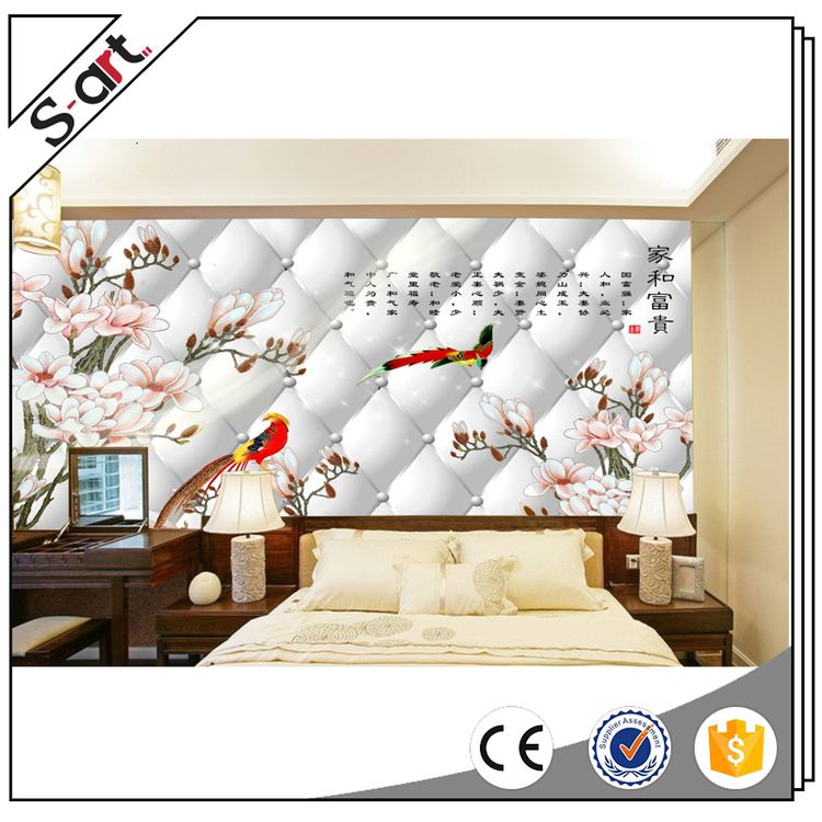 China supplier manufacture unparalleled 3d texture mural wallpaper flower