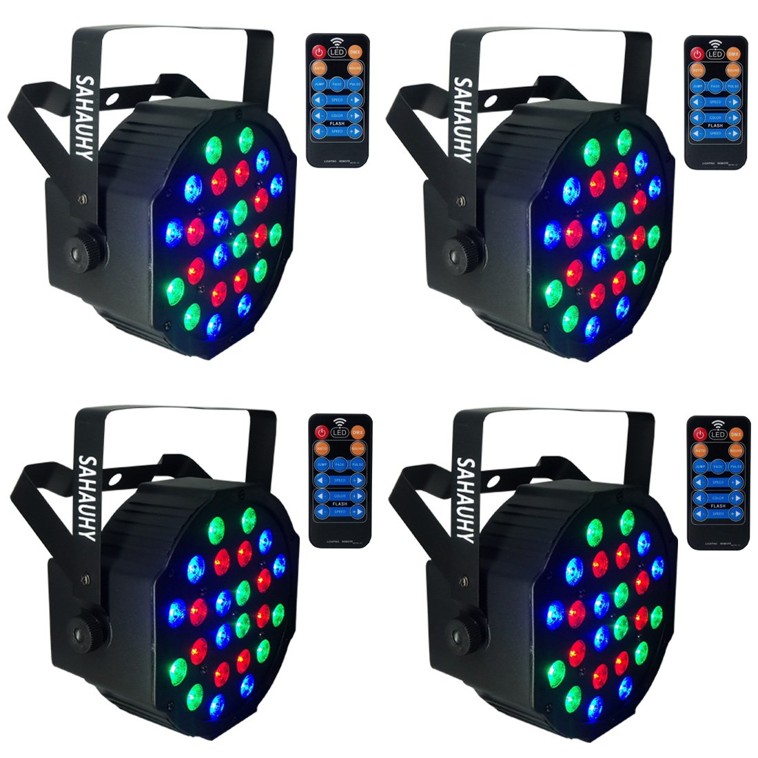 Stage Light,2018 SAHAUHY Bright 24LEDs RGB DMX Par Lights for Party Wedding Birthday Halloween Christmas with Remote(24 Leds Stage lights)