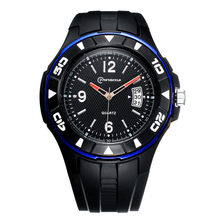 New Fashion Men's Outdoor Sport Quartz Watch Black Rubber Strap Casual Wrist Watches For Men